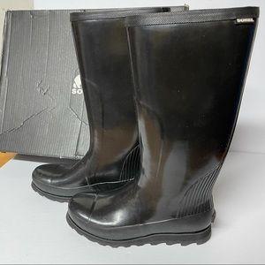 Sorel Joan tall gloss black rain boot NIB size 11